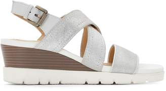 Geox D Marykarmen P.B Leather Wedge Sandals