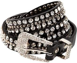 Veronica Beard 20mm Crystal & Stud Cowgirl Leather Belt