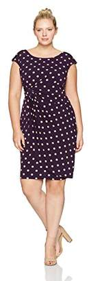 Connected Apparel Women's Plus Size Dot Jersey Side Drape Dress