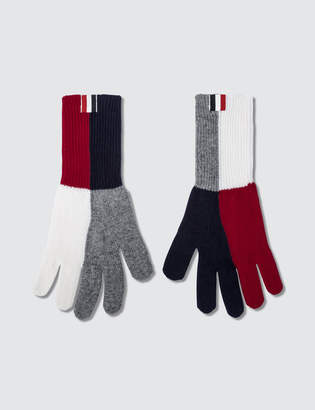 Thom Browne Fine Merino Wool Gloves with Funmix Rib Intarsia