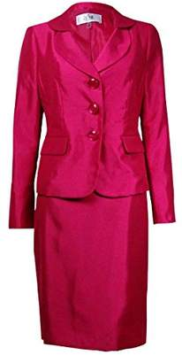 Le Suit Women's 3 Button Shiny Jacket and Skirt Suit Set
