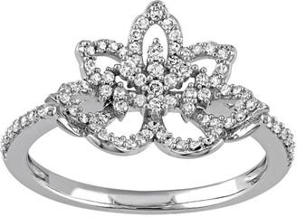Laura Ashley Lifestyles 10k White Gold 1/3 Carat T.W. Diamond Flower Ring