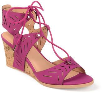 Journee Collection Womens Minny Pumps Zip Open Toe Wedge Heel