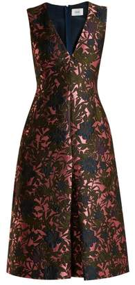 Erdem Kamila Floral Jacquard Midi Dress - Womens - Pink Multi
