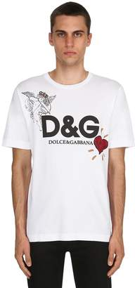Dolce & Gabbana Angel Printed Cotton Jersey T-Shirt