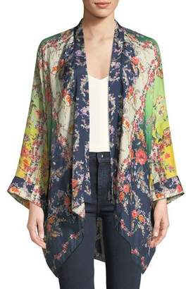Johnny Was Dolce Long-Sleeve Floral-Print Georgette Kimono