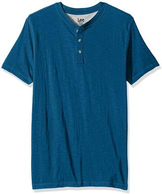 Lee Men's Short Sleeve Henley Shirt, Canyon Red-1