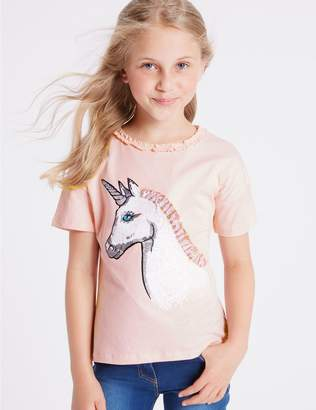 Marks and Spencer Pure Cotton Unicorn T-Shirts (3-16 Years)