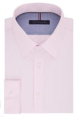 Tommy Hilfiger Men's Non Iron Slim Fit Banker Stripe Point Collar Dress Shirt