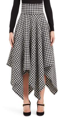 Dolce & Gabbana Houndstooth Handkerchief Hem Stretch Wool Skirt