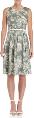 Apricot Leafy Floral Belted Dress