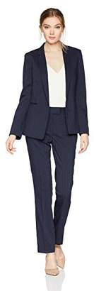 Tahari by Arthur S. Levine Women's Long Sleeve Jacket Pant Suit with Ivory Pinstripe