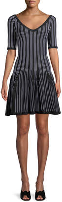 Cushnie V-Neck Elbow-Sleeve Striped Fit-and-Flare Knit Mini Dress