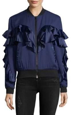 Satin Ruffle Bomber Jacket
