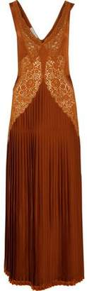 Stella McCartney Andina Cotton Guipure Lace-Paneled Pleated Satin-Crepe Gown