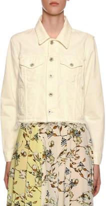 Off-White Off White Embroidered Denim Crop Jacket
