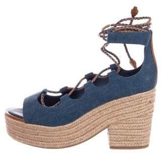 Tory Burch Denim Lace-Up Sandals