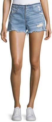 3x1 Shelter High-Rise Stripped Denim Shorts