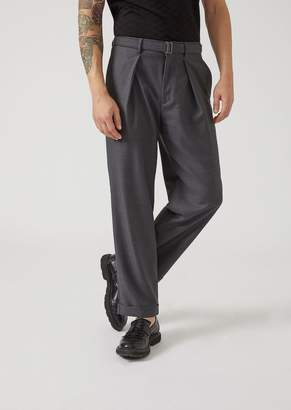 Emporio Armani Virgin Wool Pinstripe Trousers With Removable Belt
