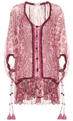 Poupette St Barth Bety printed silk poncho dress