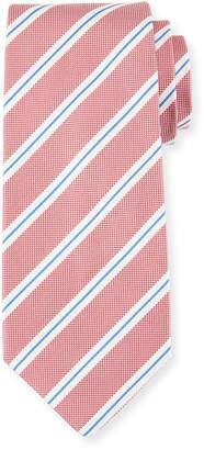 Isaia Framed Stripe Silk Tie