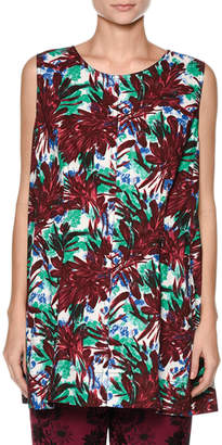 Marni Sleeveless Floral-Print Swing Top