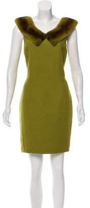 Michael Kors Mink Fur-Trimmed Sleeveless Dress