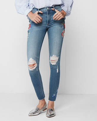 Express Petite High Waisted Floral Embroidery Stretch Ankle Jean Leggings