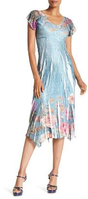 Komarov Flutter Sleeve Print Midi Dress