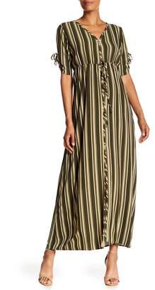 Paolino Stripe Print Button Front Maxi Dress
