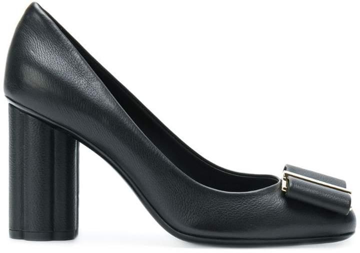 Salvatore Ferragamo bow front high-heeled pumps