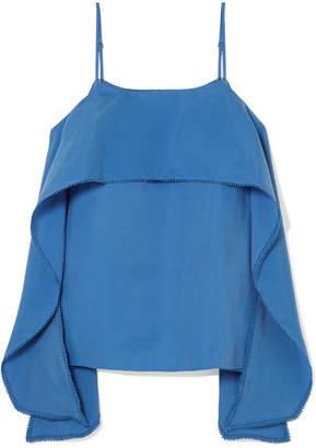 Halston Layered Crepe De Chine Camisole - Blue