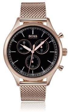 BOSS Rose-gold-plated watch with mesh bracelet
