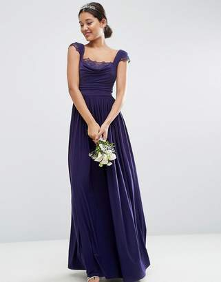 Asos DESIGN Bridesmaid lace insert cowl maxi dress