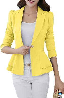 YMING Women's Basic Blazer Jacket One-Buckle Solid Slim Fit Blazer ,M