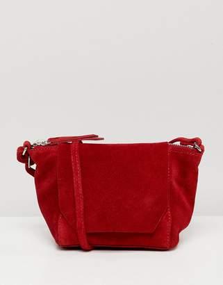 Asos Design DESIGN suede angled flap cross body bag