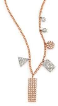 Meira T Diamond& 14K Rose Gold Geometric Charm Necklace