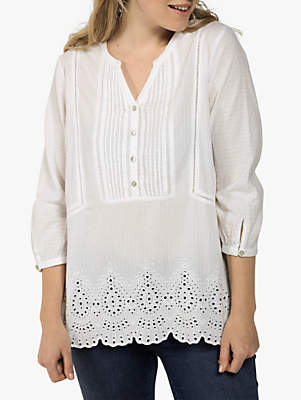 Fat Face Jolene Popover Embroidered Tunic Top, White