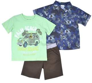 Nannette Baby Toddler Boy Short Sleeve Hawaiian Shirt, T-shirt, & Twill Shorts, 3pc Outfit Set