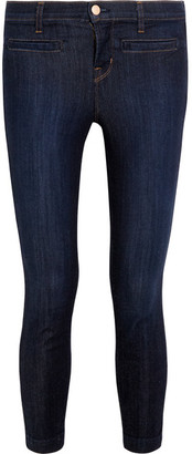 J Brand - Skeyla Cropped Mid-rise Skinny Jeans - Dark denim $220 thestylecure.com