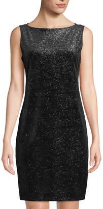 Neiman Marcus Glitter Velvet Sheath Dress with Shawl