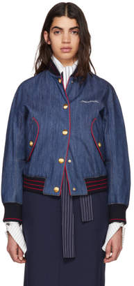 Miu Miu Blue Denim Varsity Writing Logo Bomber Jacket