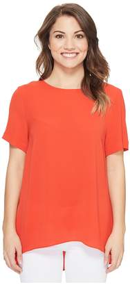 Vince Camuto Specialty Size Petite Short Sleeve High-Low Hem Textured Blouse Women's Blouse
