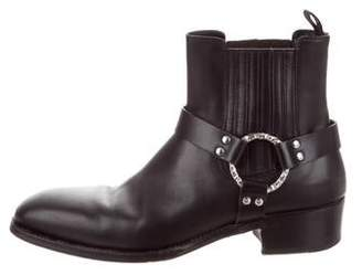 Alexander McQueen Leather Square-Toe Ankle Boots