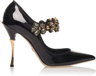Dolce & Gabbana Crystal-Embellished Patent-Leather Pumps
