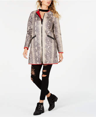 GUESS Reversible Snakeskin-Embossed Faux-Leather Faux-Fur Jacket