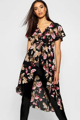 boohoo Woven Floral Button Detail High Low Hem Blouse