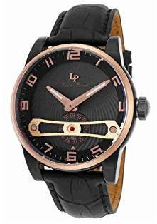 Lucien Piccard Men's 'Bosphorus' Quartz Stainless Steel and Leather Casual Watch (Model: LP-40046-BB-01-RB)