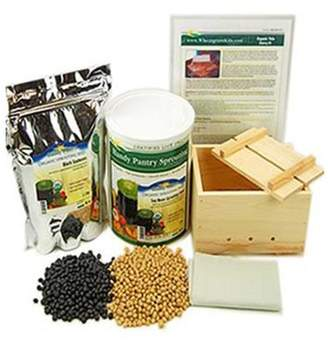 Your Own Handy Pantry Organic Deluxe Tofu Making Kit - Large Wood Mold / Press, Yellow & Black Soybeans, More - Make Tofu