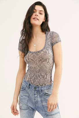 Only Hearts Python Tulle Cap Sleeve Bodysuit